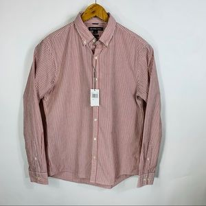 Michael Kors Red Seersucker Button Down Shirt Lg